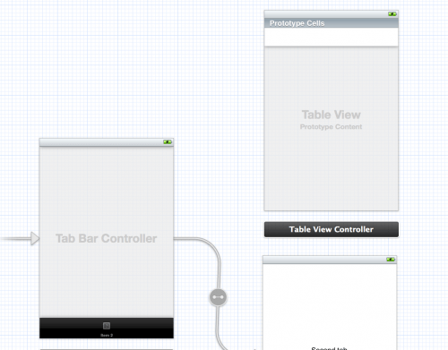 Adding a new table view controller to the Storyboard