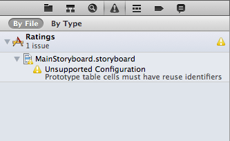 Xcode warning: Prototype cells must have reuse identifiers