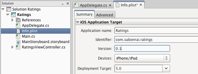 iOS Application Target information