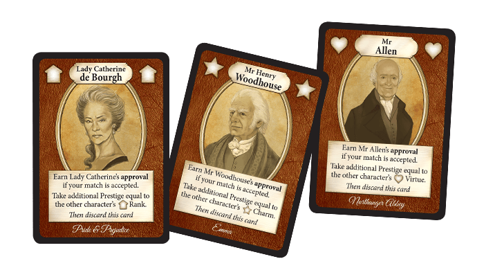 Patron cards from Jane Austen's Matchmaker Chapter Two