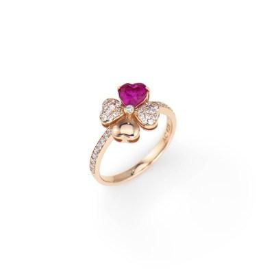 Anello quadricuore con zirconi bianchi e viola, Argento 925 rosè