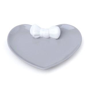 Piattino cuore porcellana grigia