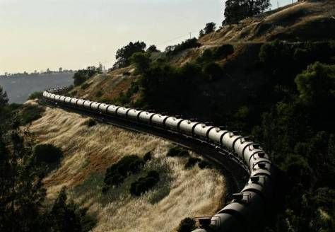 A BNSF train carries Bakken crude oil in the hills outside the Feather River Canyon last June.