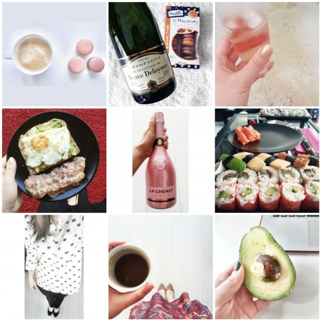 instagram, fashion, champagne, coffee, macarons, avocado, outfit, sushi