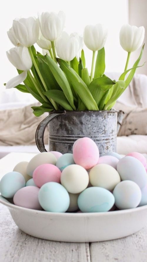 tulips, egga, easter, pastel eggs, white tulips, happy easter