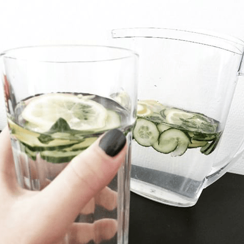 home made cucumber mint water