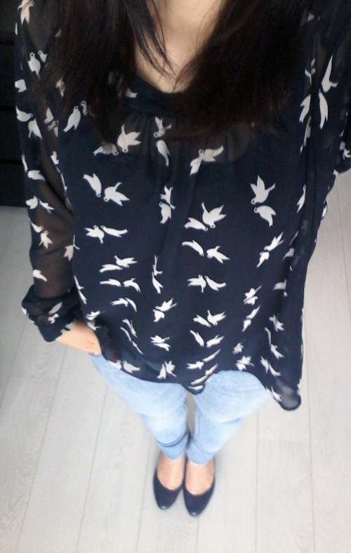 blue bird shirt outfit
