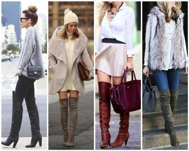 over the knee boots collage fall fashion 2015