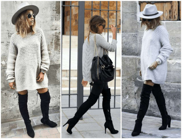 Oversized sweaters and over the knee boots