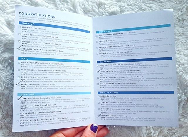 birchbox selfridges list