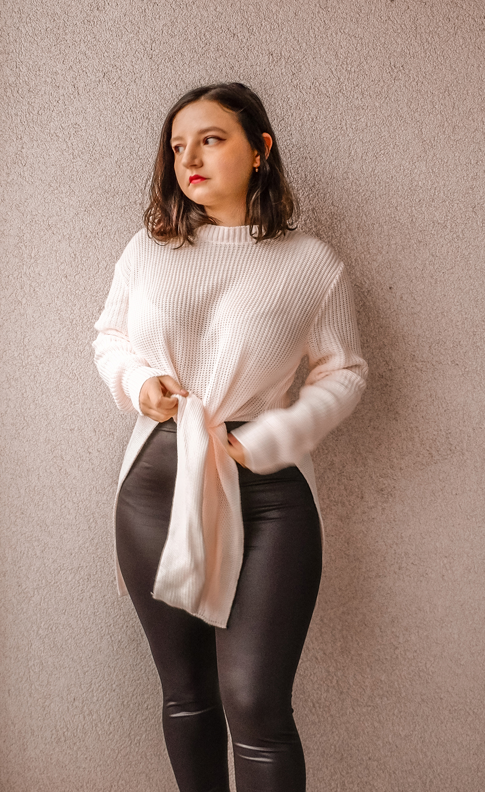 how to style faux leather leggings - with a sweater