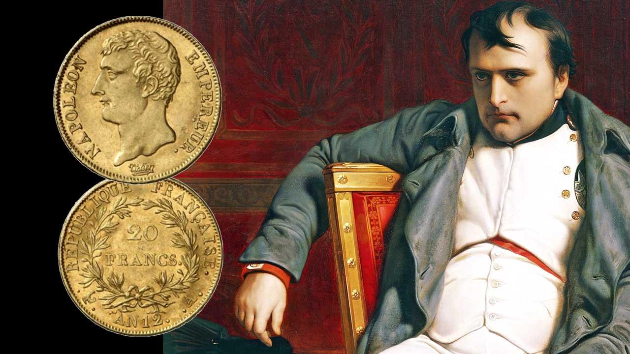 Image d'une pièce d'or de 20 francs Napoléon Ier, avec l'Empereur en arrière-plan