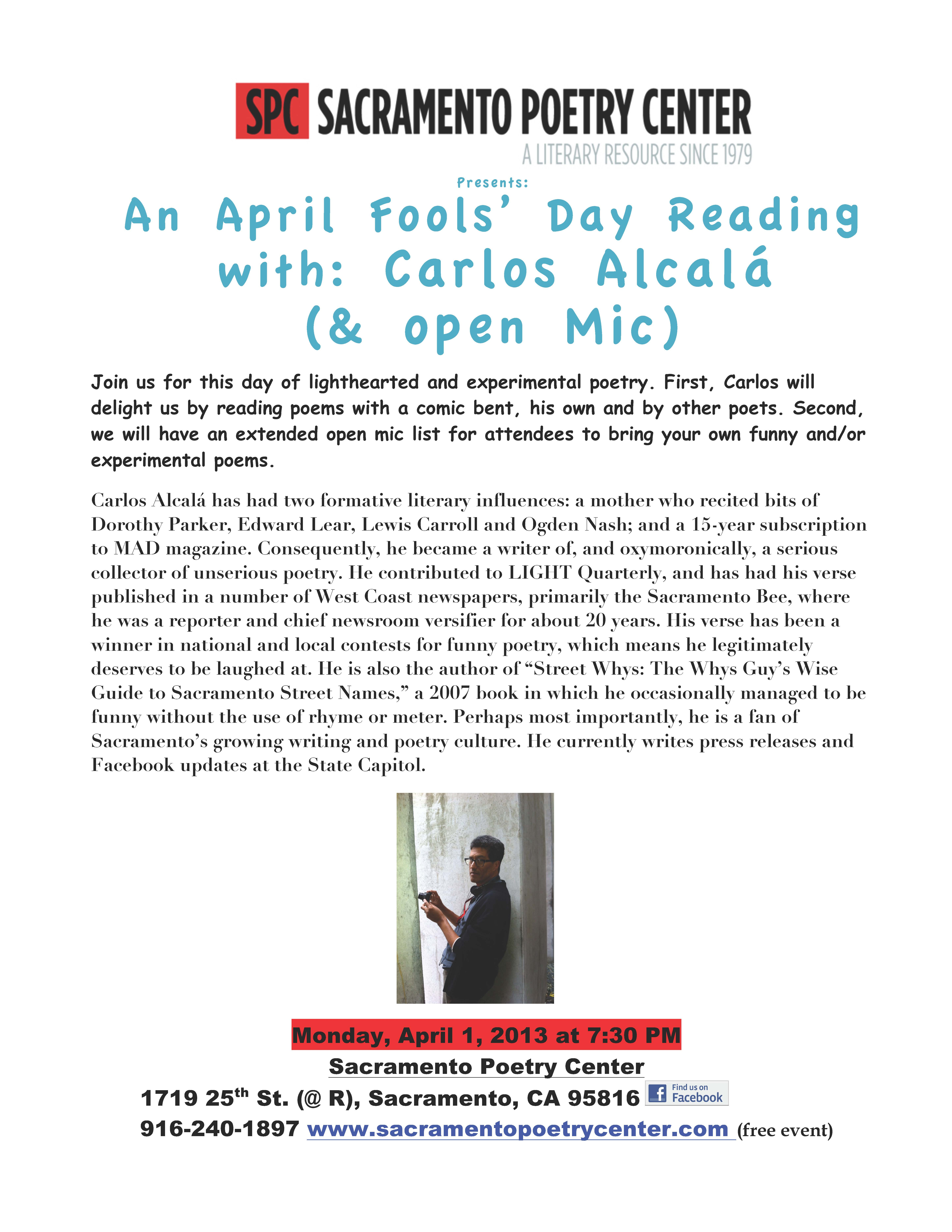 An April Fools Day Reading With Carlos Alcala