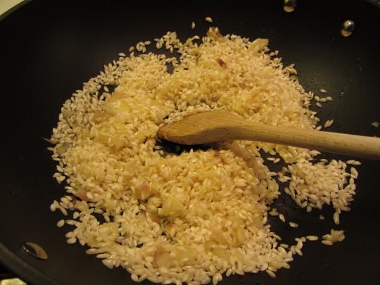 Dann den Reis unterrühren bis die Körner gleichmäßig benetzt sind.