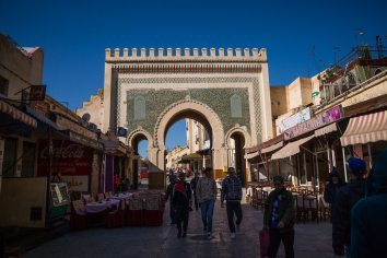 Bab Bou Jeloud- main entrance to Fez al-Bali on west side. CC: Wojtek Ogrodowczyk via Flickr http://goo.gl/5CGM9q