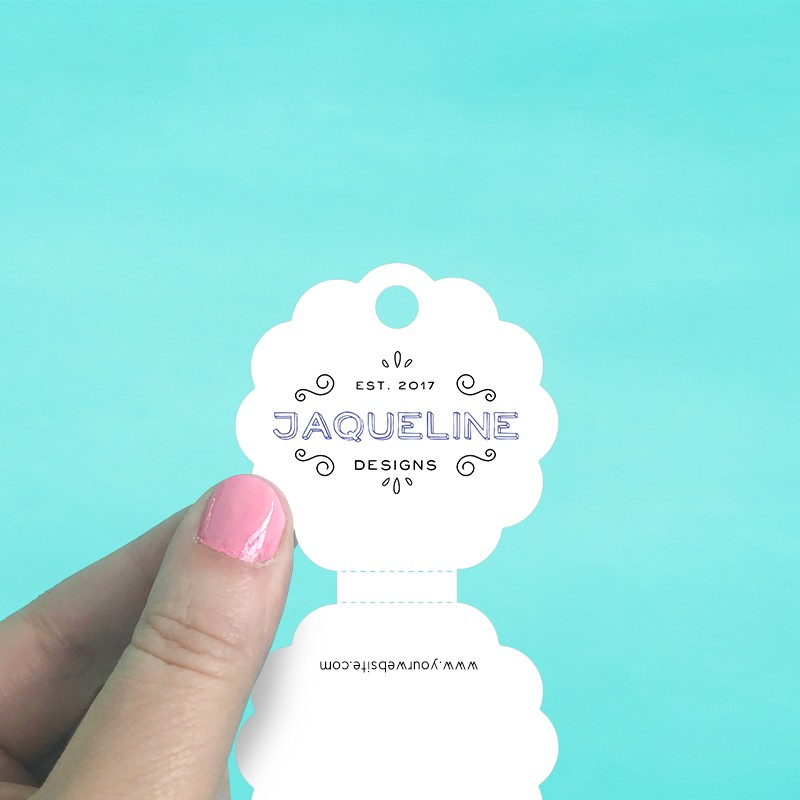 Scalloped Circle Perforated Fold Over Tags