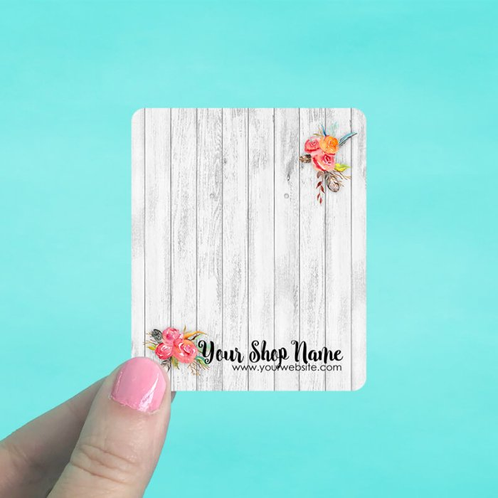Barnwood Floral Jewelry Display Cards