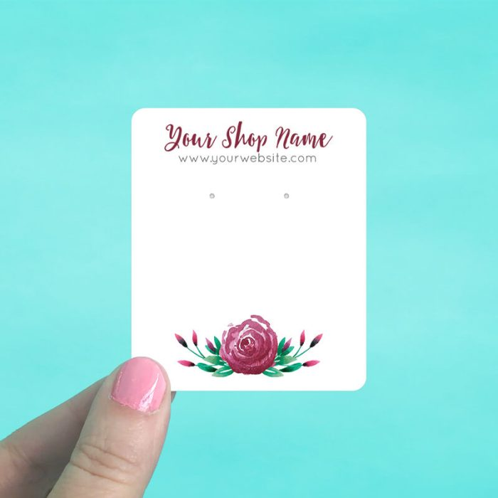 Burgundy Rose Jewelry Display Cards