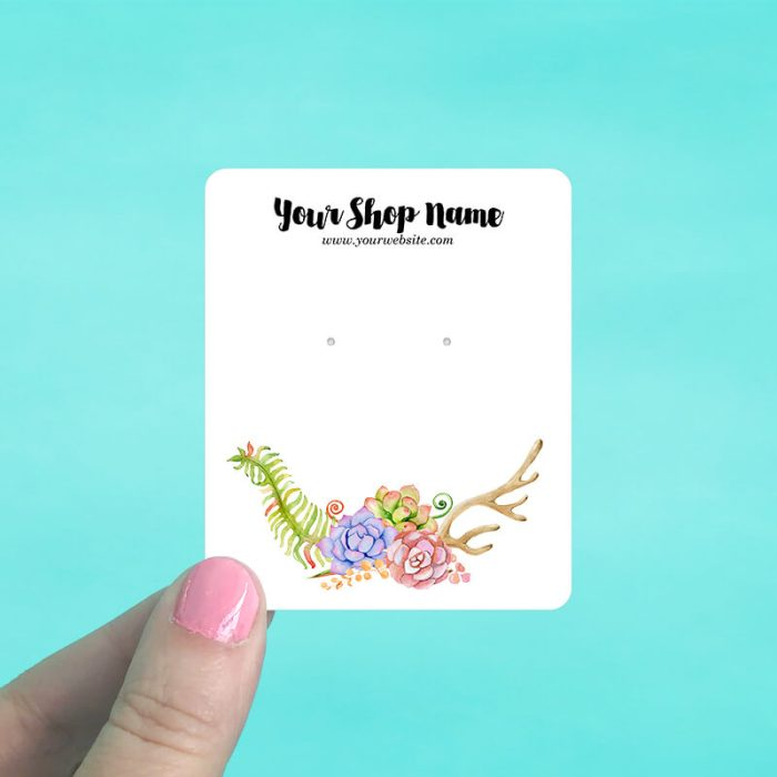 Succulents & Antler Jewelry Display Cards