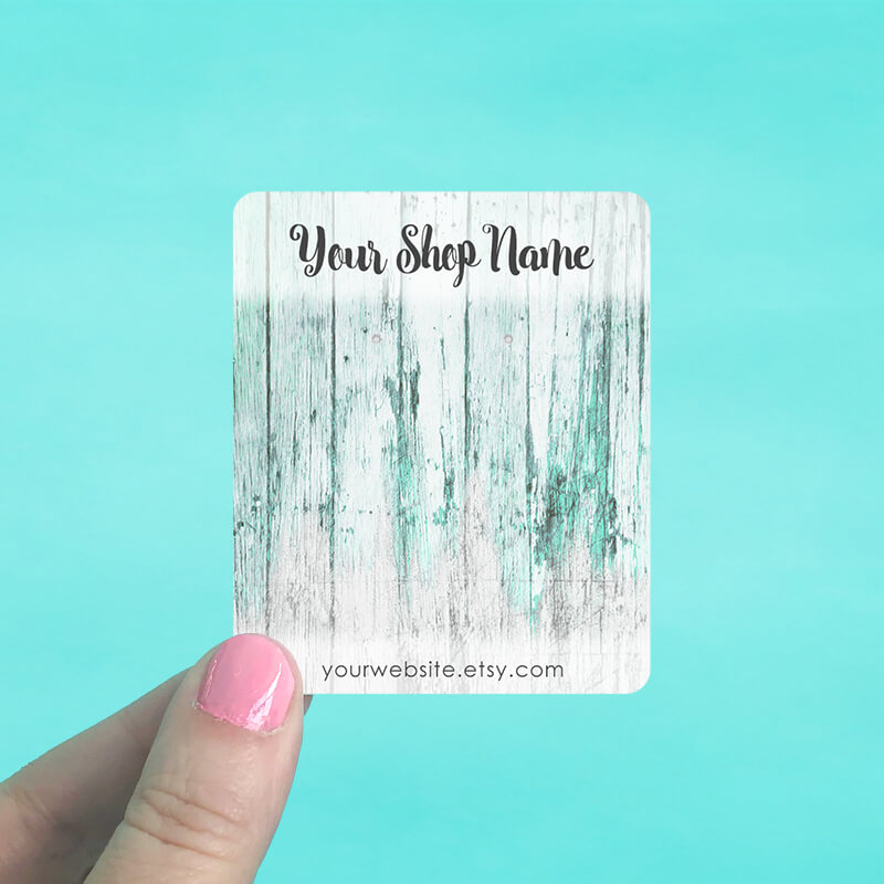 Teal Wood Jewelry Display Cards