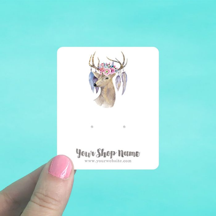 Deer Floral Feathers Jewelry Display Cards