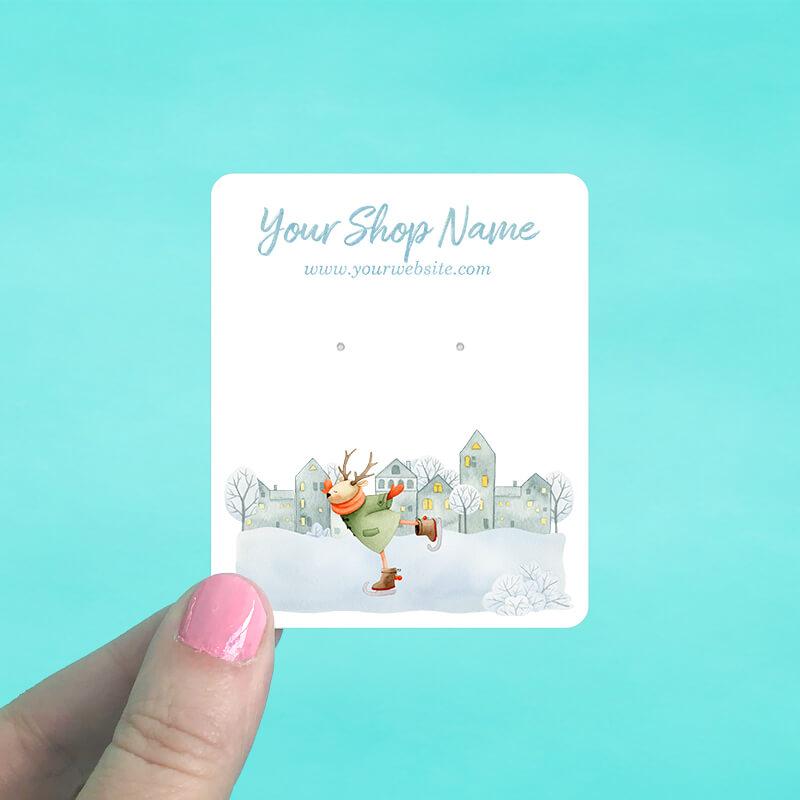 Ice Skating Deer Jewelry Display Cards