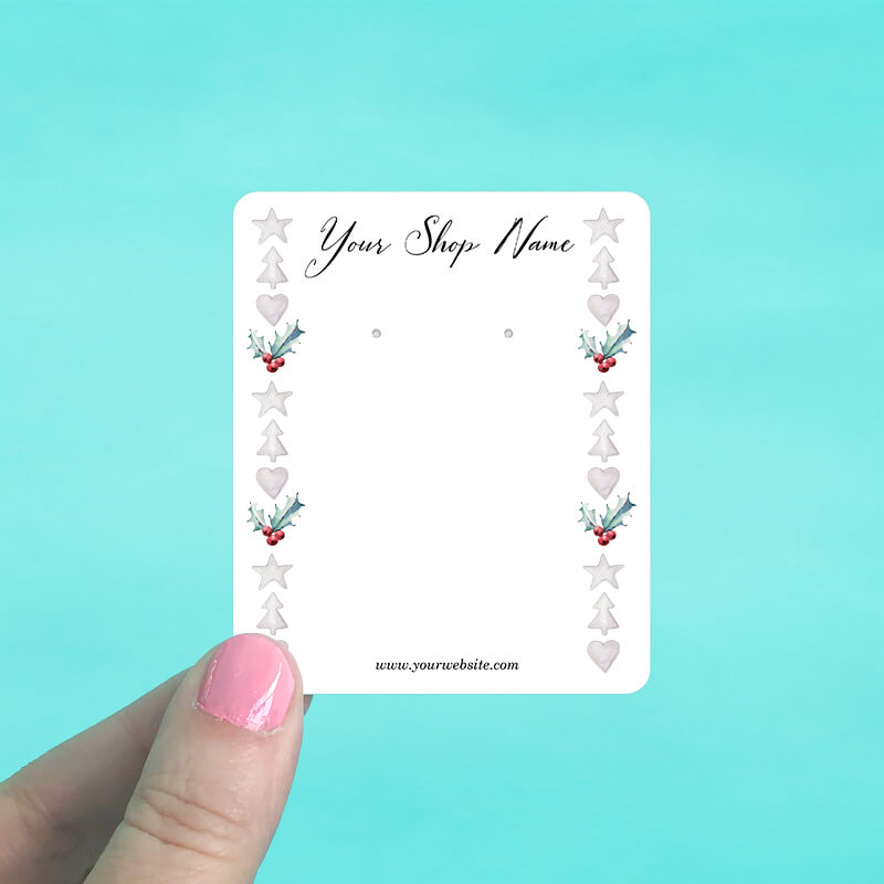 Holly Border Jewelry Display Cards