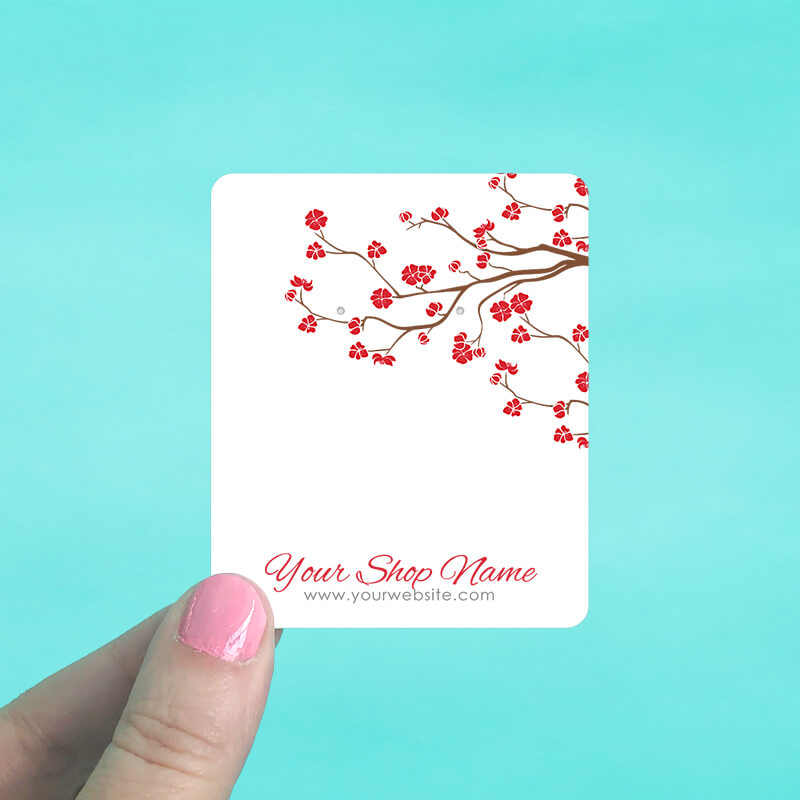 Red Blossom Jewelry Display Cards