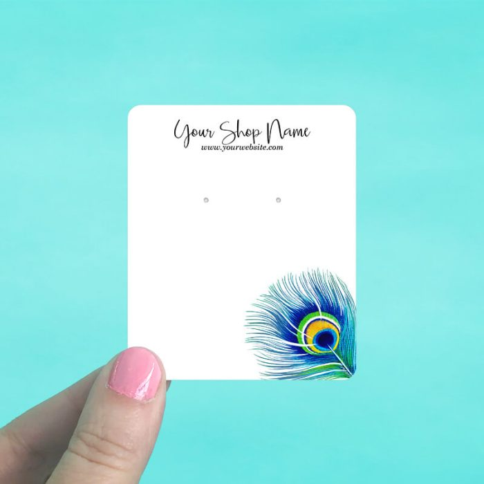 Peacock Feather Jewelry Display Cards