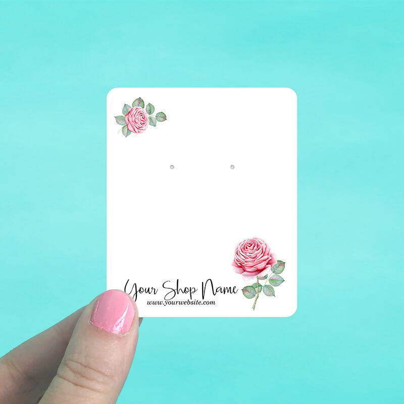 Pink Roses Jewelry Display Cards