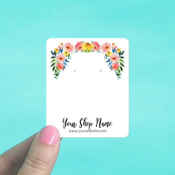 Bright Floral Garland Jewelry Display Cards