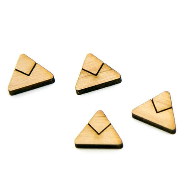 Triangle Half Chevron Wood Cabochon