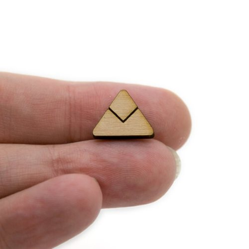 Triangle Half Chevron Wood Cabochon
