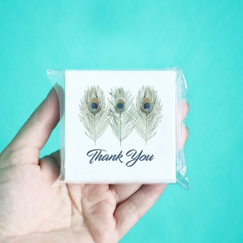 Peacock Feather Mini Thank You Note Cards
