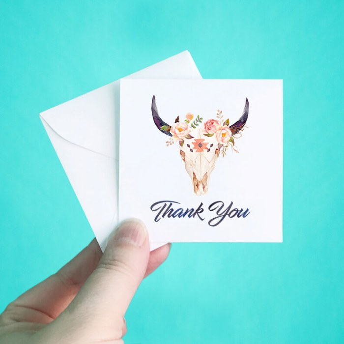 Floral Western Skull Mini Thank You Note Cards