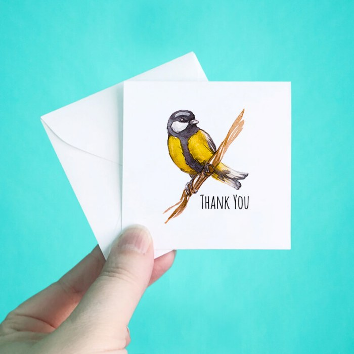 Yellow Bird Mini Thank You Note Cards
