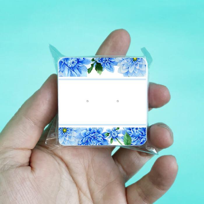 Blue Dahlia Stud Earring Cards