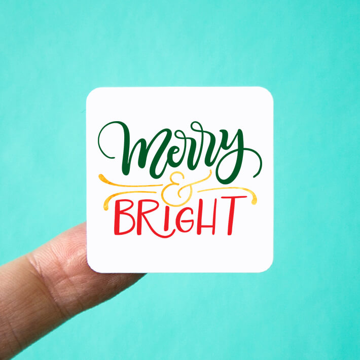 Merry & Bright Christmas Square Stickers
