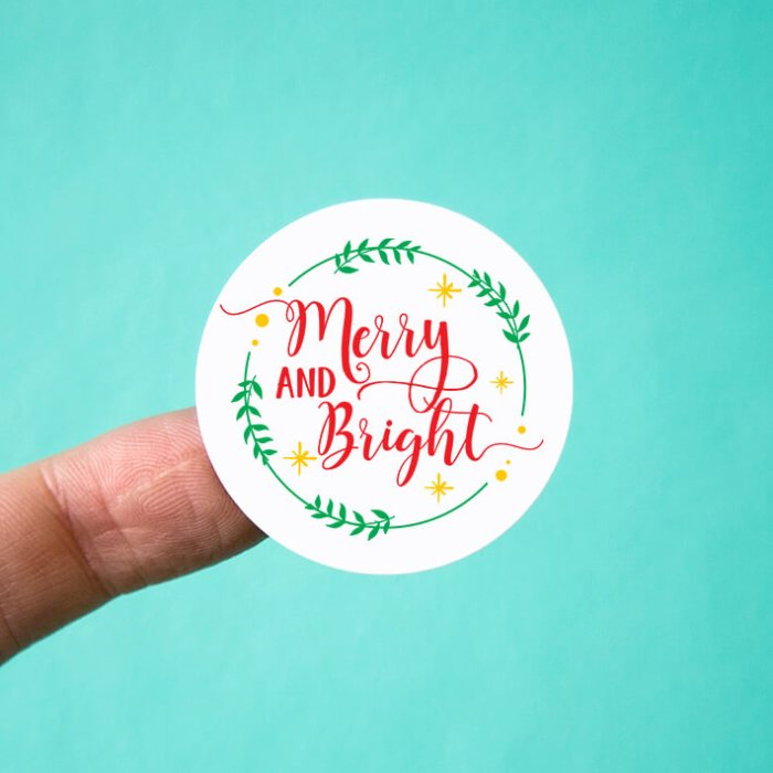 Merry & Bright Wreath Christmas Stickers