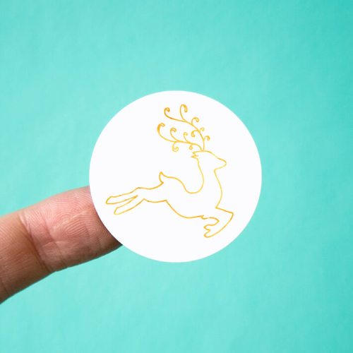 Gold Watercolor Reindeer Stickers