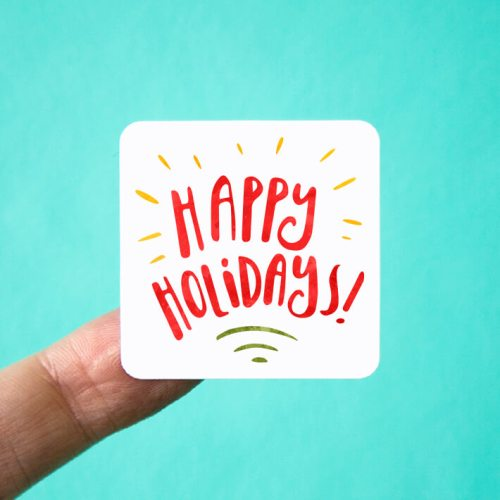 Happy Holidays Square Stickers