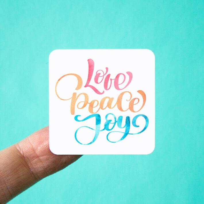 Love Peace Joy Square Stickers