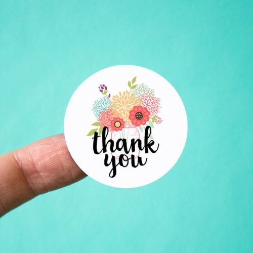 Mason Jar Bouquet Thank You Stickers