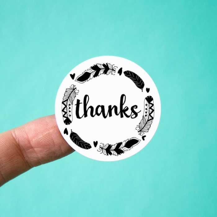 Thanks Feather Wreath Stickers