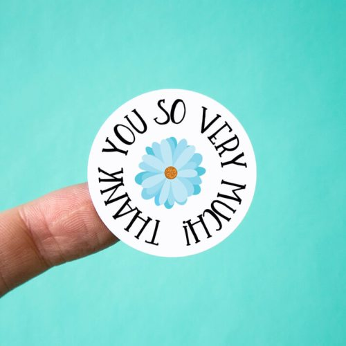 Blue Daisy Thank You Stickers