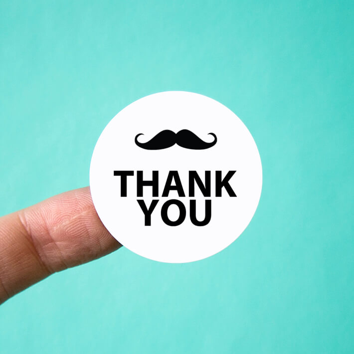 Mustache Thank You Stickers