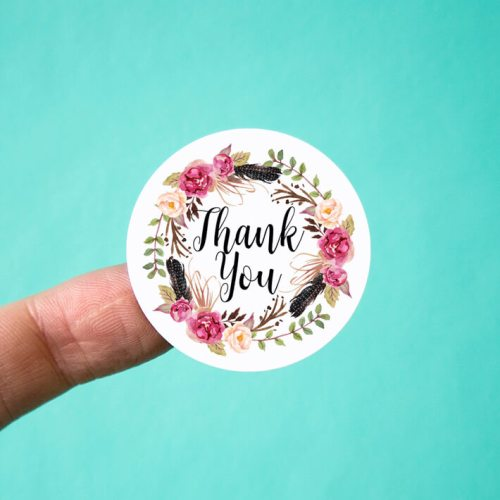 Floral Feather Wreath Thank You Stickers