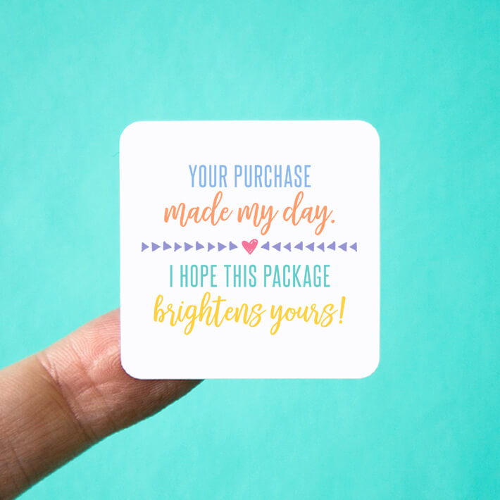 Your Purchase Made My Day Pastel Square Stickers