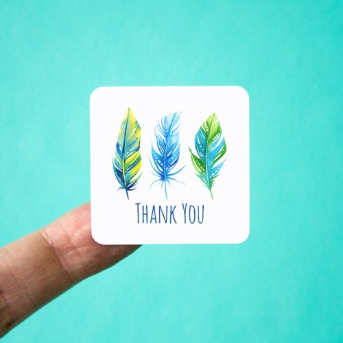Bright Feathers Thank You Stickers
