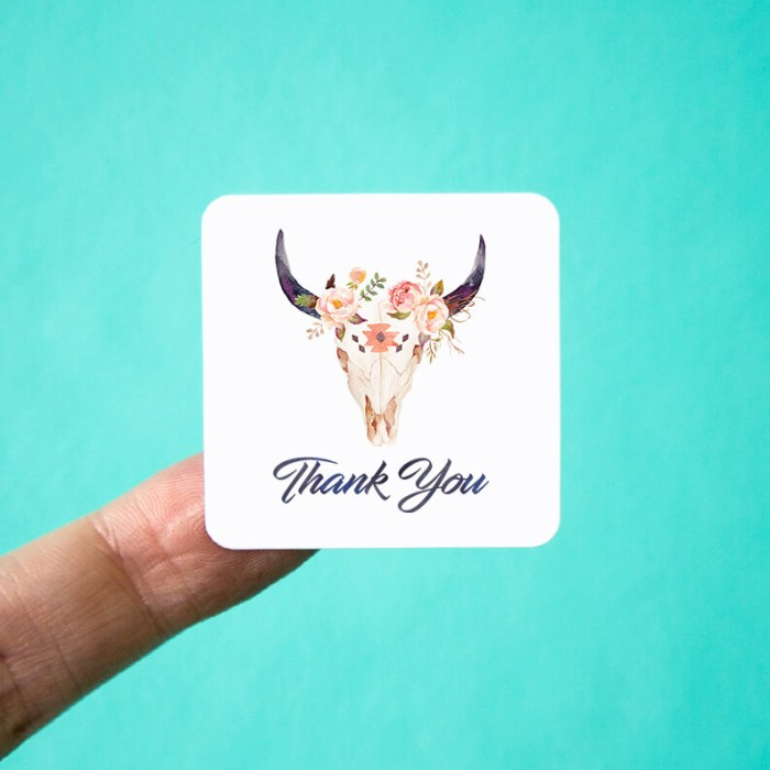 Western Skull & Roses Thank You Stickers